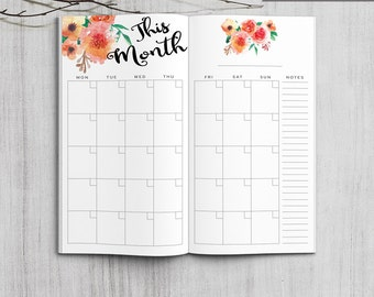 Printable Monthly Planner, Midori Monthly Planner, Printable Midori Traveler's Notebook Monthly planner inserts, PDF file