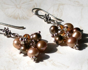 Chocolate pearl earrings, handmade sterling silver, Swarovski crystal elements earrings-Cafe au Lait