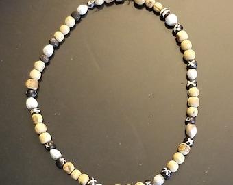 Corn Tears and Wooden Bead Necklace, Job's Tears Tulsi Beads, Tribal Beads