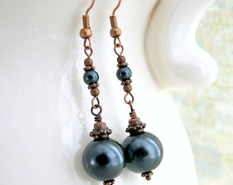 Grey Pearl & Copper Earrings - Grey Earrings - Glass Pearl Earrings - grey and copper jewelry with Niobium ear wire options