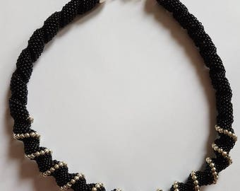 Black and silver cellini spiral necklace