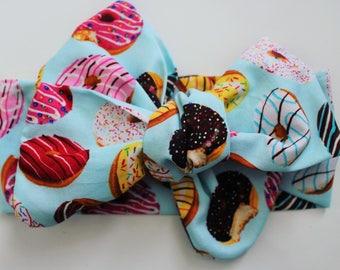 Donut print head wrap donuts print fabric, cotton head wrap, self tie head wrap, toddler head wrap, donut print