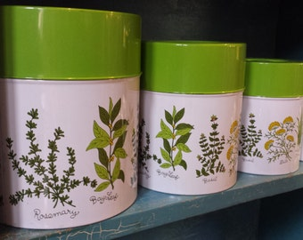 Vintage 4 Piece Herbs White and Green Metal Nesting Canister Set