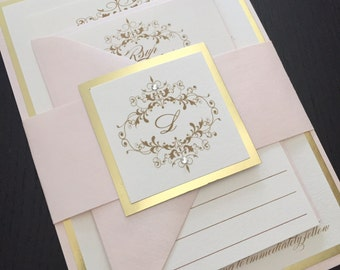 Wedding Invitations - Gold Wedding Invitation - Blush and Gold Wedding Invitations - Free RSVP Envelope Printing