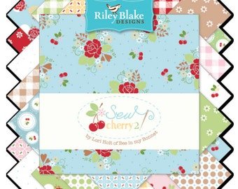"""Sew Cherry 2 5"""" Squares Charm Pack by Lori Holt of Bee in My Bonnet for Riley Blake, 30 pieces"""