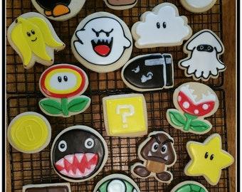 Mario Theme Cut Out Sugar Cookies - 1 1/2 Dozen