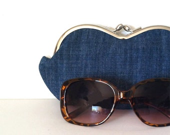 Denim sunglass case, large sunglasses case, eyeglass case, eyeglasses case, coin purse, sunglass holder, case for sunglasses, small clutch