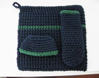 Crochet Hot Pad Set-Crocheted Pot Holder Set-Crochet Trivet-Crocheted Pan Handle Cover-Crochet Pot Holder Set-Navy and Green Hot Pad Set