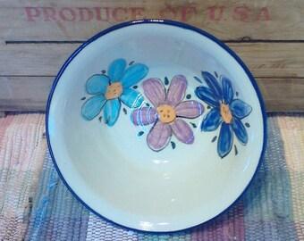 Wildflower garden flowers bowl - 24 oz - pottery serving dish - decorative serving bowl - salad bowl - pottery serving bowl - 1736