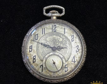 Illinois OF 21 Jewel Pocket Watch c.1925 size 8