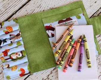 Woodland Creatures Crayon Wallet - Crayon Roll - Includes Crayola Crayons and Paper - Crayon Organizer - Party Favor - Drawing Kit