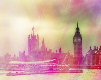 "London art print, Big Ben travel photography, large photography, London - ""London Morning"""