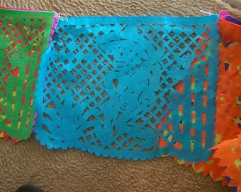 """Medium Day of the Dead Skeleton Papel Picado, 10 Banners, 14"""" by 9"""" Each Banner"""