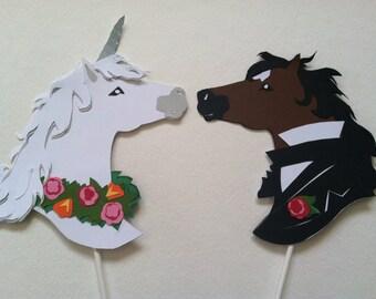 Unicorn and Horse Wedding Cake Topper Silhouette Hand Cut Paper Original Art, Color Set.