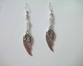 Wings with White Pearl beads earrings