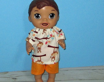 Baby Alive Snackin Luke ,Baby Alive Sweet Spoonfuls, Monkey Top and Short Set, Boy Doll Clothes, 12 13 inch Doll Clothes, Outfit