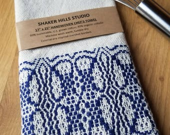 Handmade Kitchen Towel Handwoven Sustainable Organic Cotton Linen Navy Blue