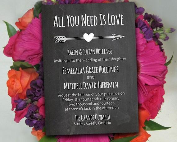 Diy Wedding Invitation Template Chalkboard Wedding