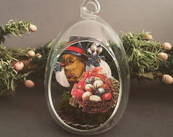 SALE - Vintage German style Victorian Easter chick diorama egg