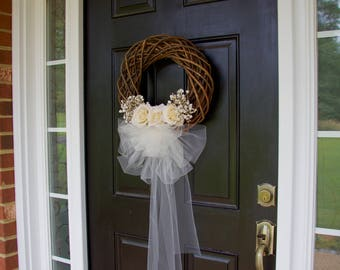 Wedding Wreaths, Wreaths, Bridal Wreath, Bridal Shower Gift, Wedding Decor, Bride, Front Door Wreath, Wreath with Veil, Spring Wreath