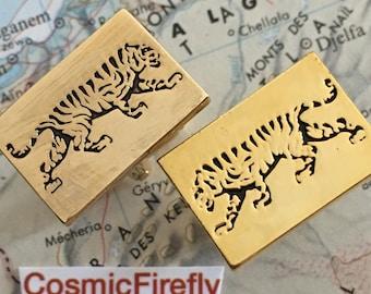 Gold Tiger Cufflinks Men's Cufflinks Jungle Tiger Steampunk Cufflinks Cosplay Cufflinks Wild Animal Cufflinks