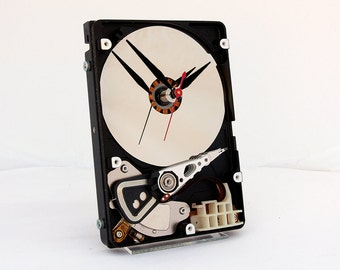 computer desk clock, upcycled desk clock, geek gift, industrial  style clock, steampunk clock, unique, Recycled Computer Hard Drive Clock