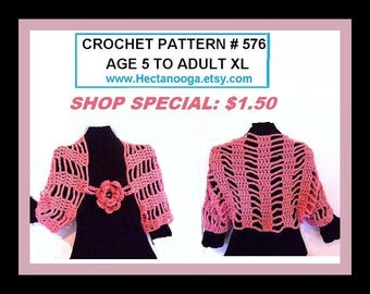 CROCHET PATTERN, shrug pattern, crochet for women- flower pattern,  for kids, for women, plus custom sizes, num. 576