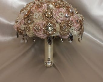 Blush Champagne Ivory Brooch Bouquet, Custom Brooch Bouquet, 10 inch Ready To Ship, Full price