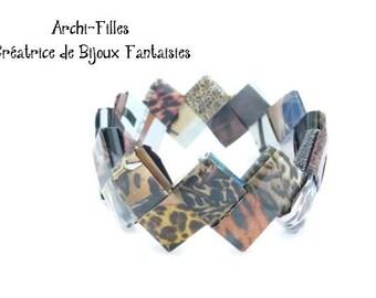 Leopard paper bracelet,brown bangle wristband,recycled paper bracelet,origami bracelet,paper jewelry,recycle jewelry paper,Ethnic bracelet