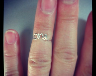 Knuckle Ring sterling silver WORD-and other shapes