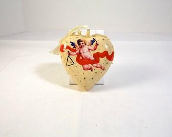 Christmas Ornament Decoupaged Heart