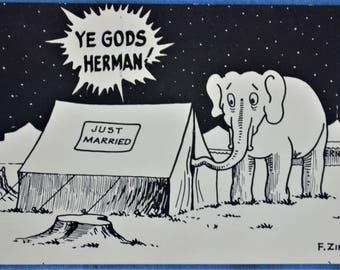 Risque Postcard Just Married Elephant Trunk Ye Gods Herman
