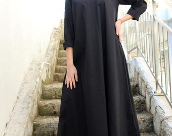 Maxi Black Dress/ Loose Long Dress/ Shirt Dress/ Oversize Black Kaftan/ Oversized Dress/Plus Size Black Dress/ Maxi Tunic/by Fraktura D0045
