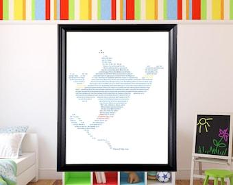 Disney Genie in Text Wall Art   Disney Art   Text Art   Aladdin   Robin Williams  