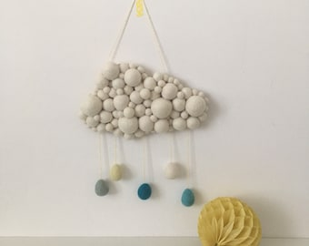 Custom felt ball cloud wall hanging, with raindrops. Home decor, nursery decor, christening gift