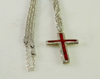 """Inlaid Cross on a Double Strand Sterling Chain 16-18"""""""