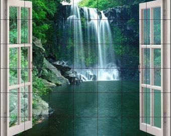 Ceramic Tile Mural, Waterfalls Window View 36 x 42 440