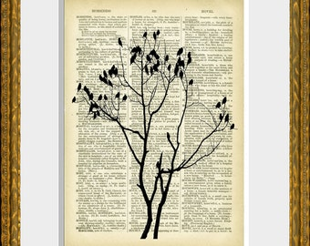 BIRDS ON BRANCHES recycled book page art print - an upcycled antique dictionary page with a retooled antique bird illustration - home decor