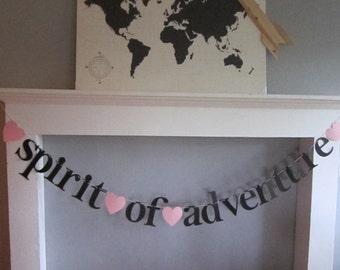 Spirit Of Adventure Banner. Lowercase Typewriter Font. Heart Shapes.