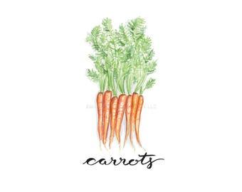 Carrot Botanical Print Watercolor Painting / Carrot Art / Watercolor Veggies Art / Watercolor Plant Art / Kitchen Art / Home Decor / Recipe