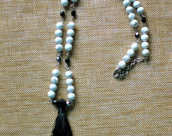 Black and white tassel beaded necklace