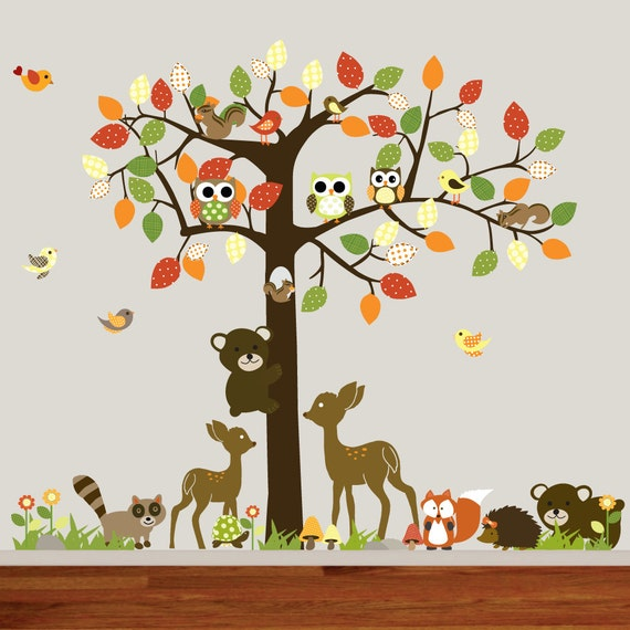 Vinyl Kinderzimmer Wand Aufkleber Wald Baum Mit Vögeln