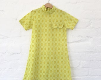 Vintage NOS 60s Yellow Pop Mod  Dress French Made 8-10 Y