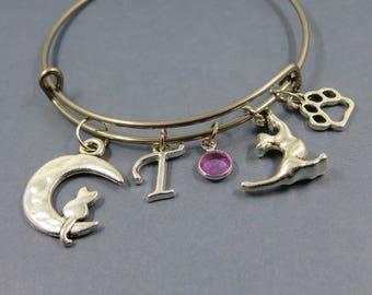 Bangle Bracelet Silver gift birtstone cat moon paw letter alphabet themed bangle initial birthstone