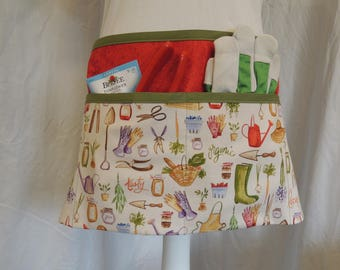 Cute gardening apron with red background