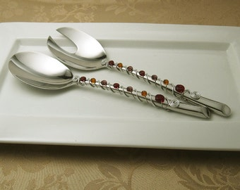 Hand wire wrapped and beaded 2 piece server set - royal