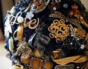 Black Gold Brooch Bouquet