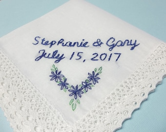 Wedding handkerchief, gift for bride, hand embroidered, something blue, royal blue, bridal gift, bride hanky, personalized wedding gift,