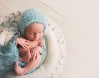 Angora Knit Bonnet RTS - Photography Prop - Newborn Girl or Boy - Newborn Prop Bonnet, Angora Knit Bonnet, Prop Bonnet, Quick Ship