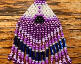 Purple & White Beaded Teepee Dangle Earrings